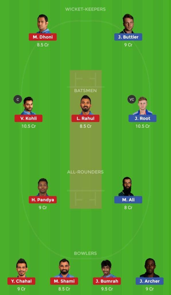 Dream11 Team Prediction Match 38 England vs India CWC 2019-2