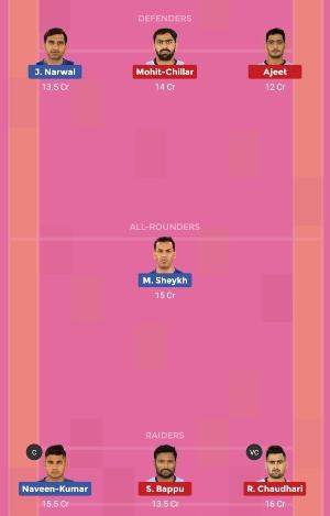 Dabang Delhi K.C. vs Tamil Thalaivas Dream11 Team 2 Match 9 Pro Kabaddi 2019