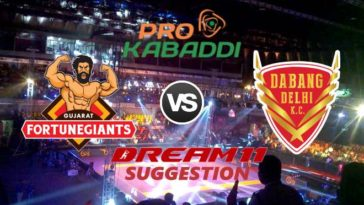Gujarat Fortunegiants vs Dabang Delhi K.C. Dream11 Team Match 20 Pro Kabaddi 2019