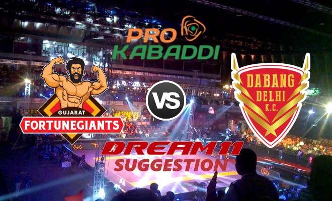 Gujarat Fortunegiants vs Dabang Delhi K.C. Dream11 Team Match 20 Pro Kabaddi 2019