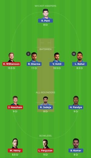 India vs New Zealand Dream11 Semifinal Team Prediction CWC 2019