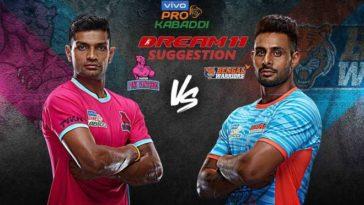 Jaipur Pink Panthers vs Bengal Warriors Dream11 Team Match 13 Pro Kabaddi 2019