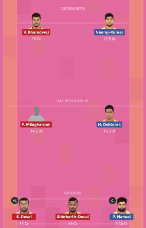 Telugu Titans vs Patna Pirates Dream11 Team 1 Match 11 Pro Kabaddi 2019