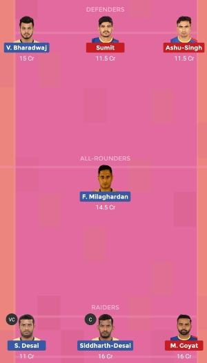 Telugu Titans vs UP Yoddha Dream11 Team 2 Match 21 Pro Kabaddi 2019