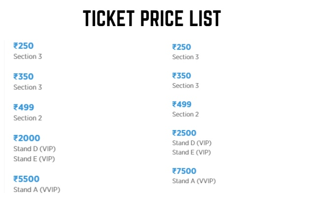 U Mumba Pro Kabaddi League 2019 Tickets Price List