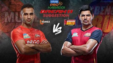 U Mumba vs Bengaluru Bulls Dream11 Team Match 15 Pro Kabaddi 2019