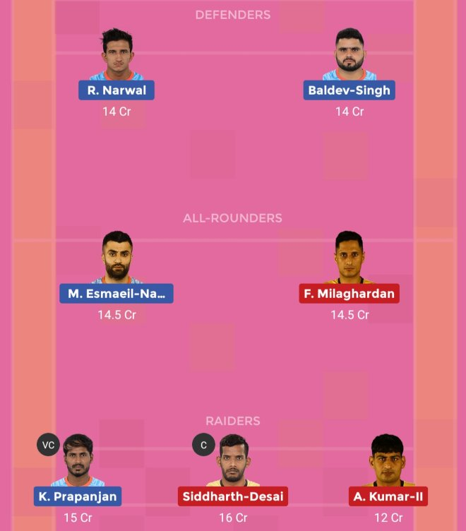 Bengal Warriors vs Telugu Titans Dream11 Team 2 Match 38 Pro Kabaddi 2019