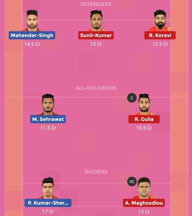 Bengaluru Bulls vs Gujarat Fortunegiants Dream11 Team Prediction Match 67 Pro Kabaddi 2019 2