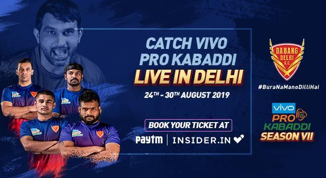 Dabang Delhi KC Pro Kabaddi 2019 Ticket Booking Insider