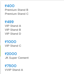 Dabang Delhi KC Pro Kabaddi League 2019 Tickets Price List