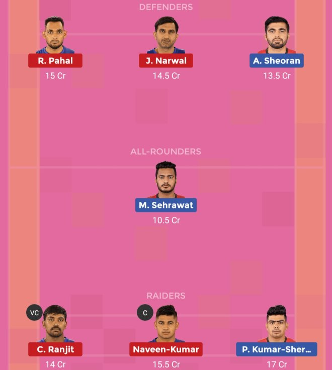 Dabang Delhi vs Bengaluru Bulls Dream11 Prediction Team 1 Match 56 Pro Kabaddi 2019