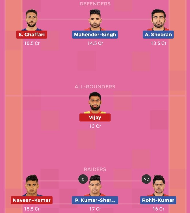 Dabang Delhi vs Bengaluru Bulls Dream11 Prediction Team 2 Match 56 Pro Kabaddi 2019