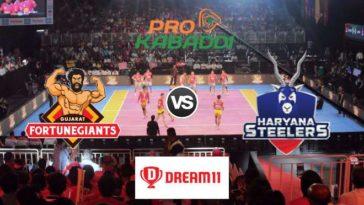 Gujarat Fortunegiants vs Haryana Steelers Dream11 Team Prediction Match 62 Pro Kabaddi 2019