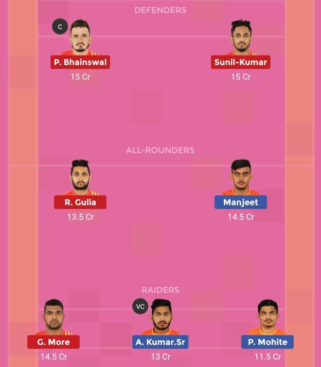 Gujarat Fortunegiants vs Puneri Paltan Dream11 Team 1 Match 28 Pro Kabaddi 2019