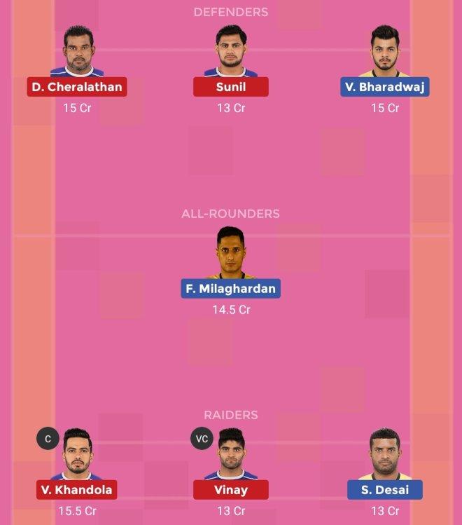 Haryana Steelers vs Telugu Titans Dream11 Team 1 Match 47 Pro Kabaddi 2019