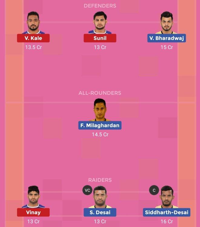 Haryana Steelers vs Telugu Titans Dream11 Team 2 Match 47 Pro Kabaddi 2019