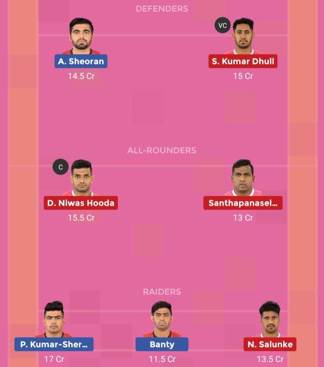 Jaipur Pink Panthers vs Bengaluru Bulls Dream11 Prediction Team 1 Match 58 Pro Kabaddi 2019