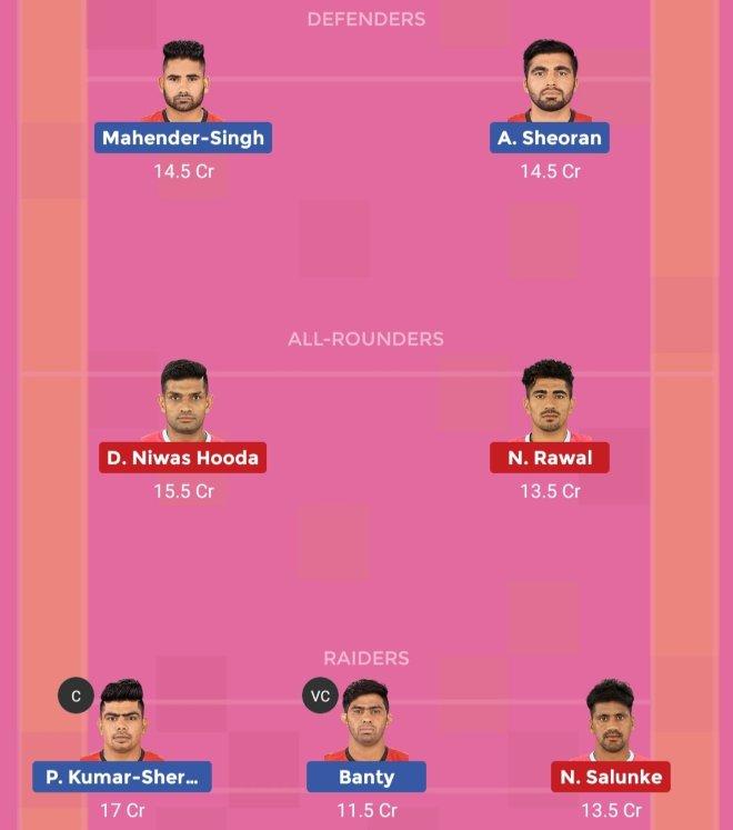 Jaipur Pink Panthers vs Bengaluru Bulls Dream11 Prediction Team 2 Match 58 Pro Kabaddi 2019
