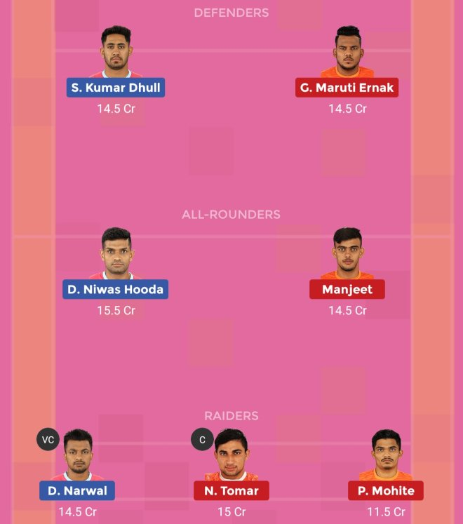 Jaipur Pink Panthers vs Puneri Paltan Dream11 Team 1 Match 42 Pro Kabaddi 2019