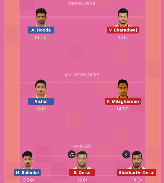 Jaipur Pink Panthers vs Telugu Titans Dream11 Prediction Team 1 Match 57 Pro Kabaddi 2019