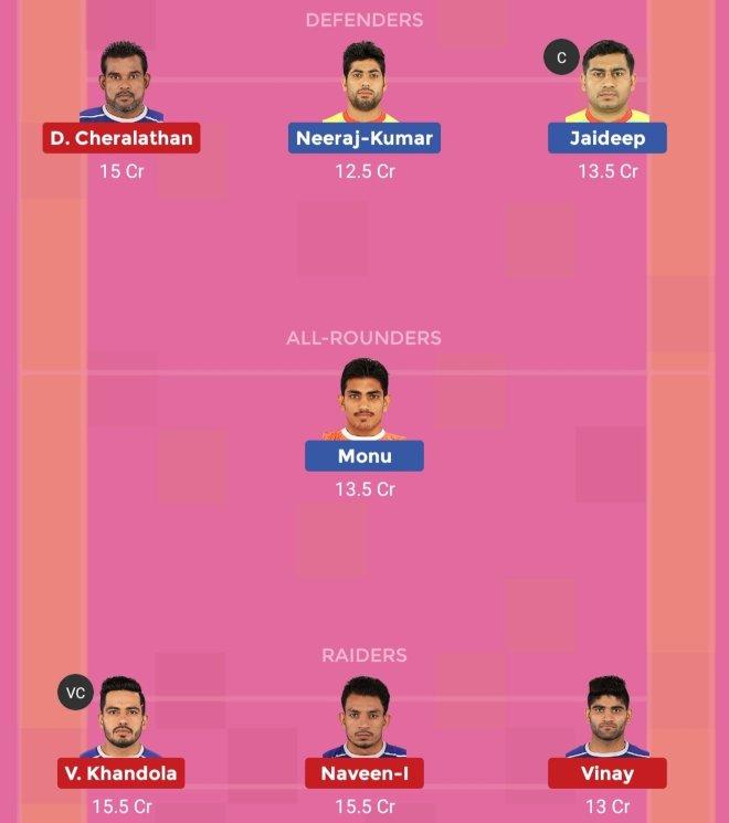 Patna Pirates vs Haryana Steelers Dream11 Team 2 Match 30 Pro Kabaddi 2019