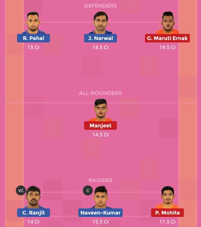 Puneri Paltan vs Dabang Delhi KC Dream11 Team 1 Match 35 Pro Kabaddi 2019
