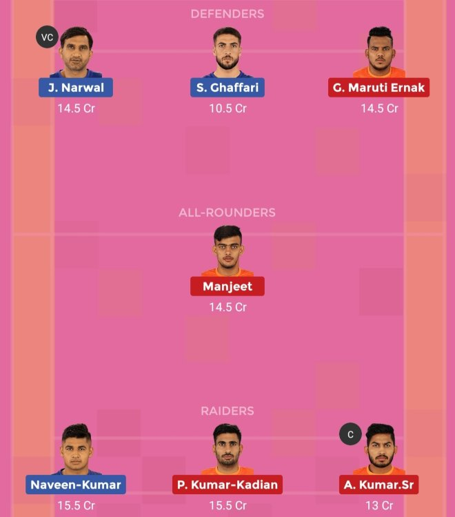 Puneri Paltan vs Dabang Delhi KC Dream11 Team 2 Match 35 Pro Kabaddi 2019