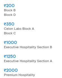 Tamil Thalaivas Chennai Pro Kabaddi League 2019 Ticket Price List