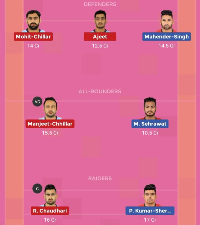 Tamil Thalaivas vs Bengaluru Bulls Dream11 Team 1 Match 45 Pro Kabaddi 2019