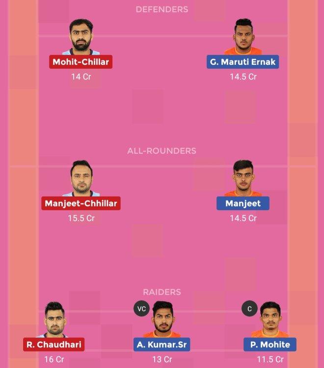 Tamil Thalaivas vs Puneri Paltan Dream11 Team 1 Match 48 Pro Kabaddi 2019
