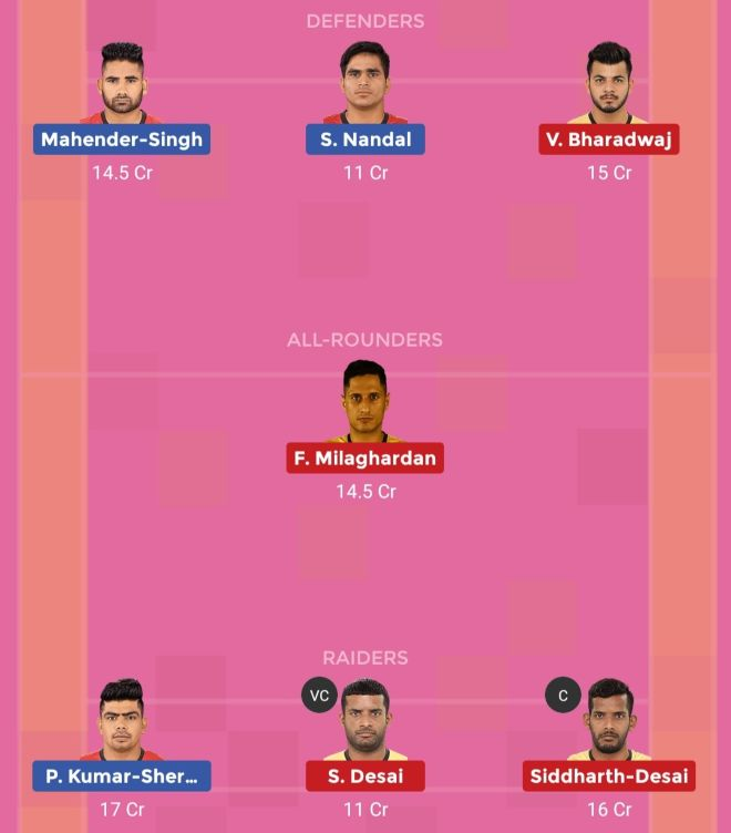 Telugu Titans vs Bengaluru Bulls Dream11 Team 1 Match 31 Pro Kabaddi 2019