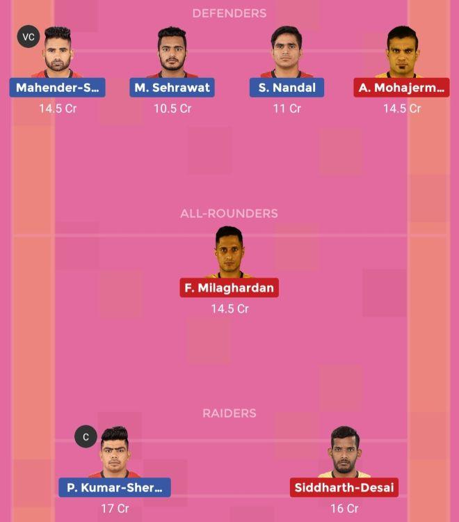 Telugu Titans vs Bengaluru Bulls Dream11 Team 2 Match 31 Pro Kabaddi 2019
