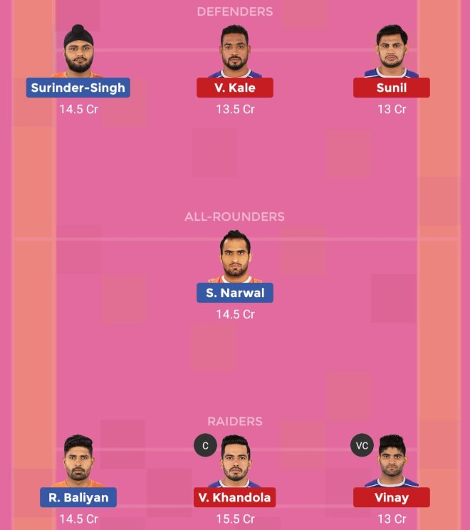 U Mumba vs Haryana Steelers Dream11 Team 1 Match 49 Pro Kabaddi 2019