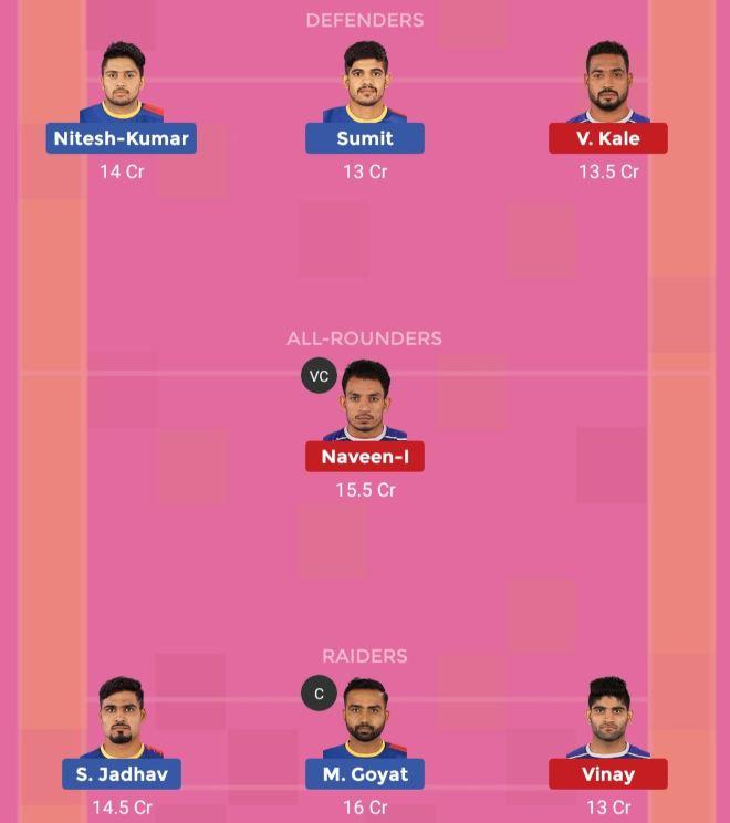 UP Yoddha vs Haryana Steelers Dream11 Team 2 Match 40 Pro Kabaddi 2019