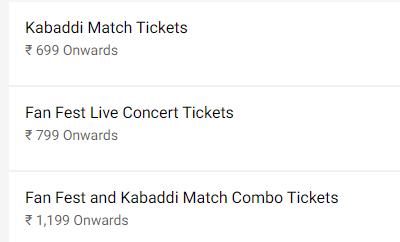 Pro Kabaddi 2019 Final Ticket Price List