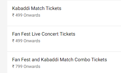 Pro Kabaddi 2019 Playoffs Ticket Price List
