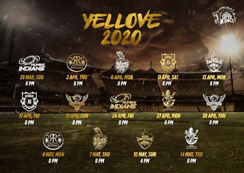 IPL 2020 Chennai Super Kings (CSK) Schedule