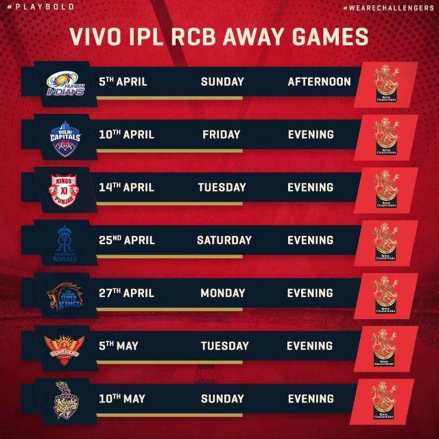 IPL 2020 Royal Challengers Bangalore RCB Full Schedule Away Games