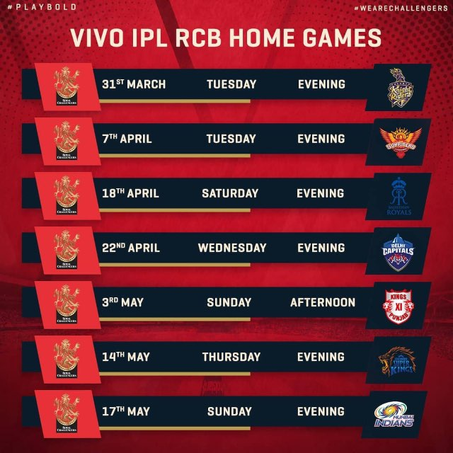 IPL 2020 Royal Challengers Bangalore RCB Full Schedule Home Games