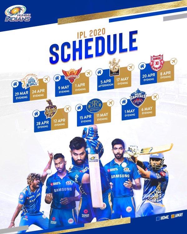 Mumbai Indians MI IPL 2020 Full Schedule
