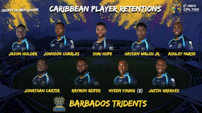 Barbados Tridents local players retention for CPL 2020