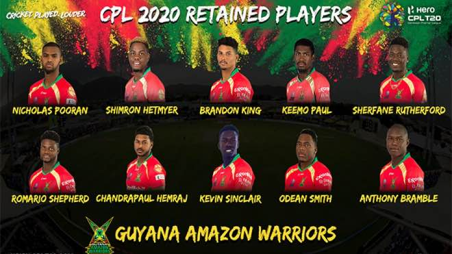 Guyana Amazon Warriors (GAW) local players retention for CPL 2020