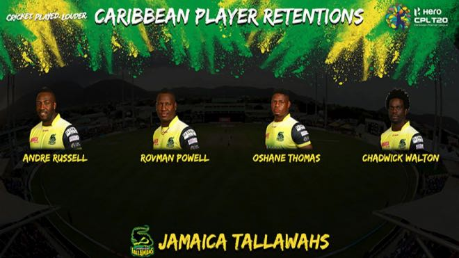 Jamaica Tallawahs (JAM) local players retention for CPL 2020