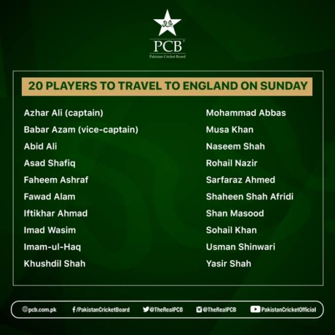 20-player squad to fly for England Manchester three-Test and three T20I series in August and September