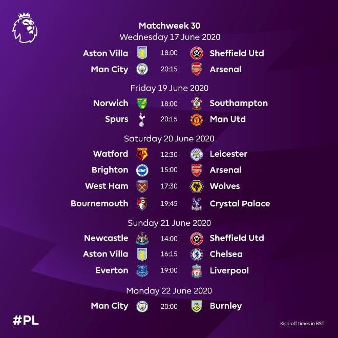 Revised 2019-2020 Premier League fixture for Matchweek 30