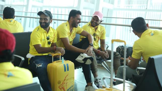 Chennai Super Kings at Chennai Airport