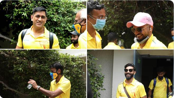 Chennai Super Kings on the move to Chennai Airport
