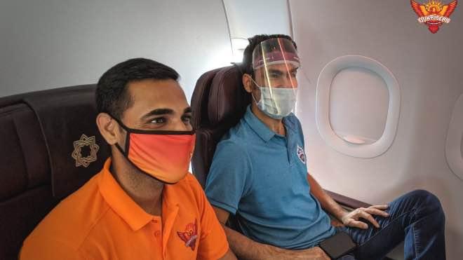 Delhi Capitals Mohammad Kaif and Sunrisers Hyderabad's Bhuvneshwar Kumar in flight to UAE