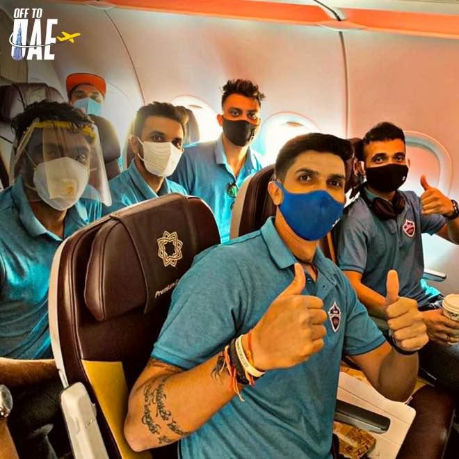 Delhi Capitals in flight to UAE