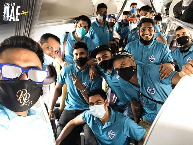Delhi Capitals inflight to UAE